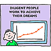 Diligent people work to achieve their dreams.