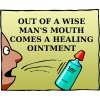 Out of a wise man's mouth comes a healing ointment