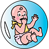 A graphic of a baby sitting in large bubble. Cute and simple.