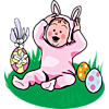 This is a vintage style image of a baby in an Easter bunny costume. Beside her are Easter eggs and a candy package.