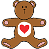 An image of a teddy bear with a with heart on his chest. A cute valentine bear, country style.