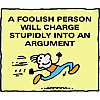 A foolish person will charge stupidly into an argument