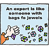 An expert is like someone with bags of jewels