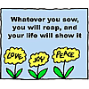 Whatever you sow, you will reap, and your life will show it